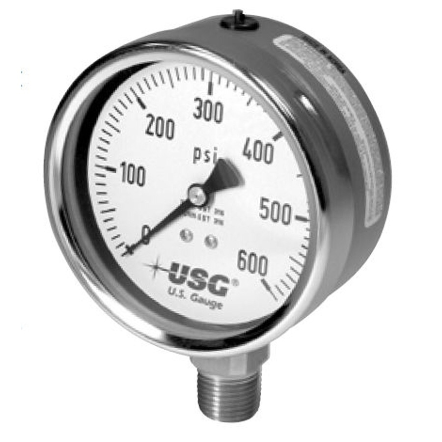 US Gauge 656 Liquid Fillable Open Front Pressure Gauge ...